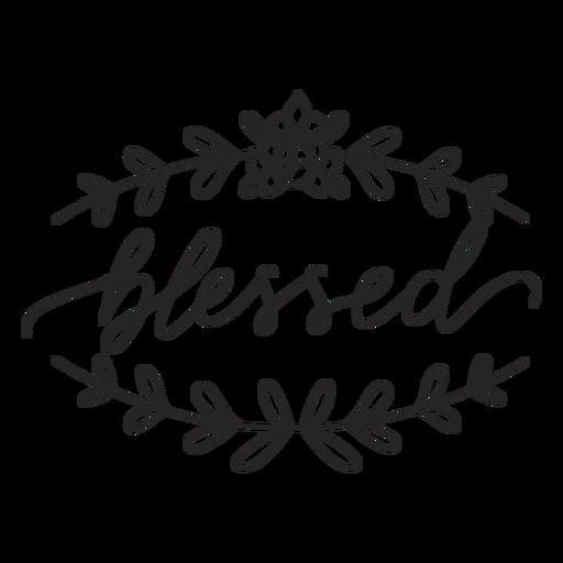 Blessed floral lettering Transparent PNG
