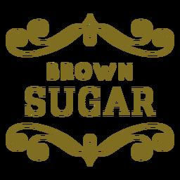 Etiqueta de remolinos de azúcar morena
