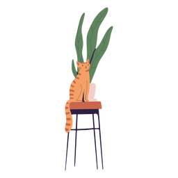 Cat next to plant illustration