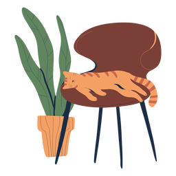 Cat sleeping on chair illustration