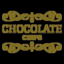 Rótulo de redemoinhos de pedaços de chocolate