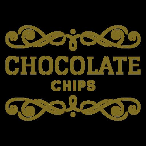 Etiqueta de remolinos de chispas de chocolate