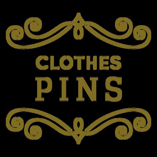 Clothes pins swirls label Transparent PNG