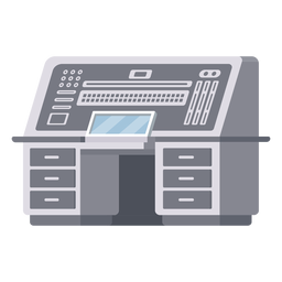 Ilustração da mesa do console do computador