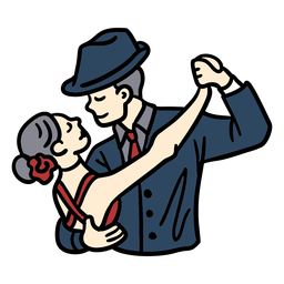 Couple dancing tango hand drawn