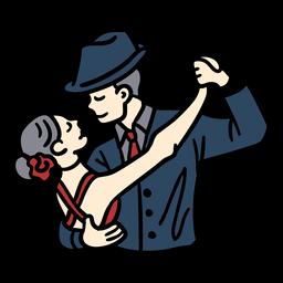 Pareja bailando tango dibujado a mano
