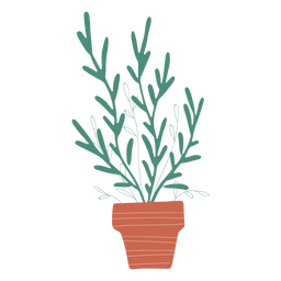 Decoration plant in pot illustration