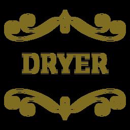 Etiqueta de remolinos de secadora