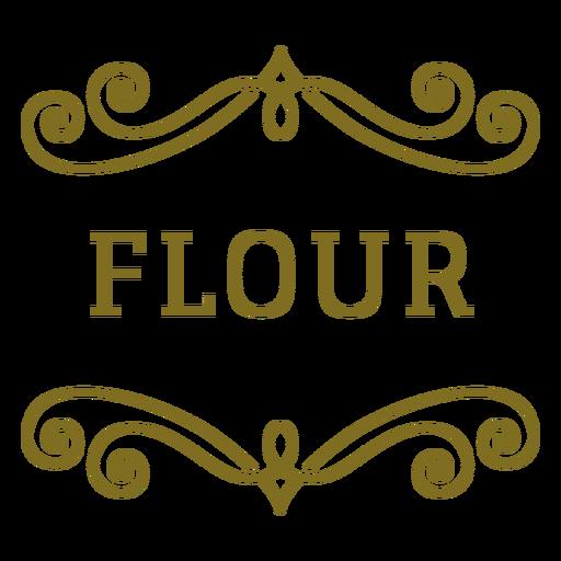 Etiqueta de remolinos de harina