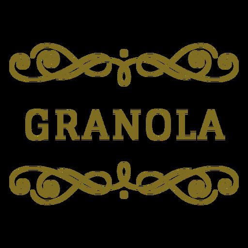 Etiqueta de remolinos de granola