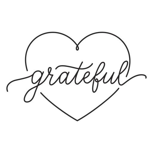 Grateful heart lettering Transparent PNG