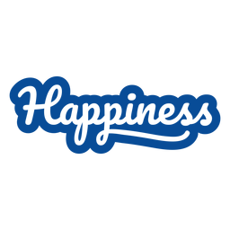 Happiness blue lettering