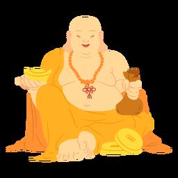 Happy buddha illustration happy