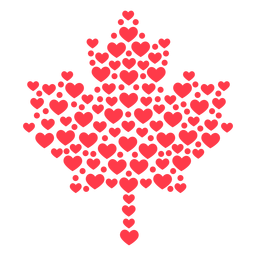 Hearts forming maple leaf flat