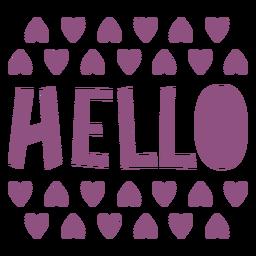 Hello hearts lettering