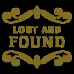 Etiqueta de redemoinhos de achados e perdidos