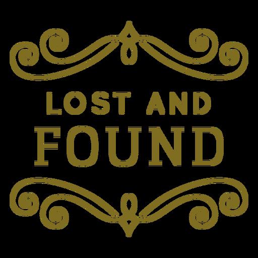 Etiqueta de remolinos perdidos y encontrados