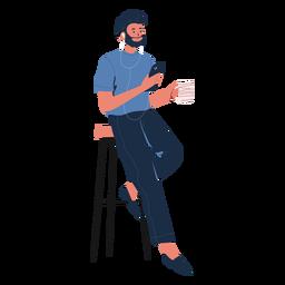 Homem reclinado com personagem de celular