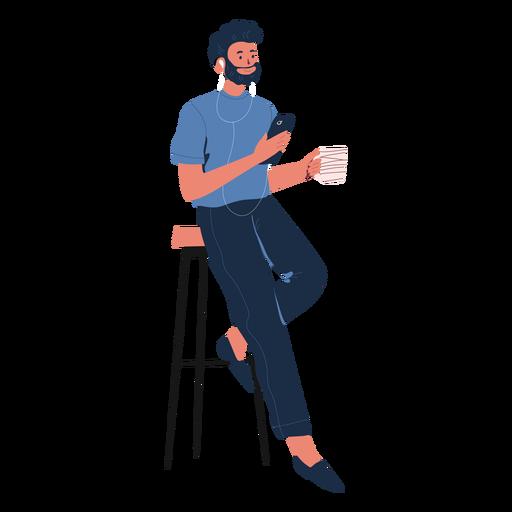 Hombre reclinado con carácter de teléfono celular