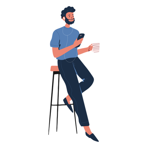 Man reclined with cellphone character