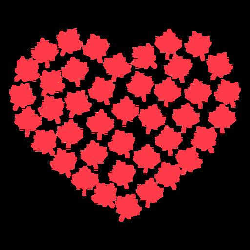 Maple leaf heart flat