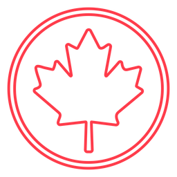 Maple leaf in circle stroke