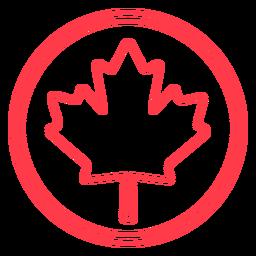 Maple leaf in circle stroke