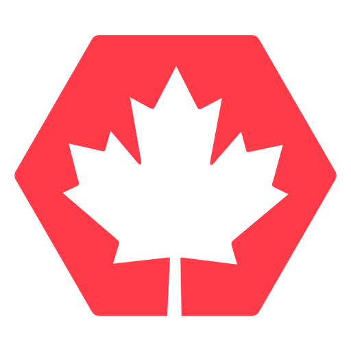 Maple leaf in hexagon flat Transparent PNG