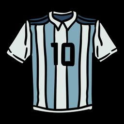 Camisa argentina número 10 desenhada à mão