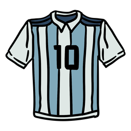 Camiseta argentina numero 10 dibujada a mano