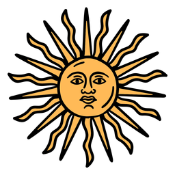 Sol argentino oficial dibujado a mano