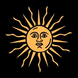 Sol argentino oficial mão desenhada