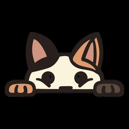 Peekaboo cute cat flat