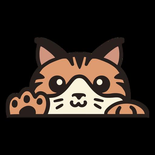 Peekaboo cute orange cat flat Transparent PNG
