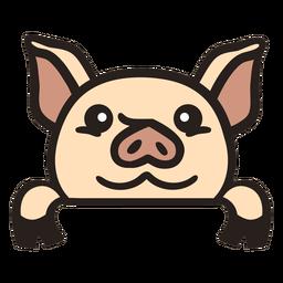 Peekaboo cute piglet flat