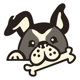 Perro peekaboo con hueso plano