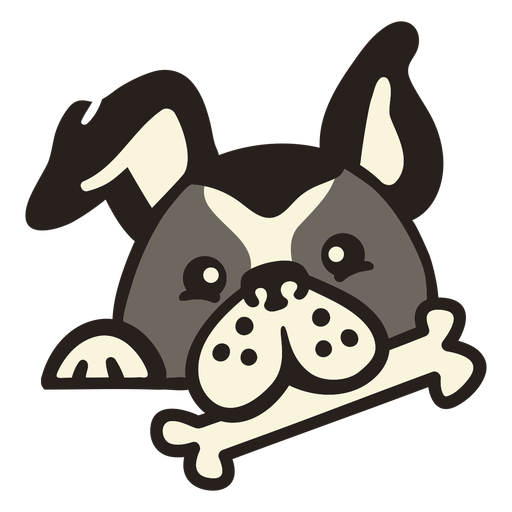 Perro peekaboo con hueso plano Transparent PNG