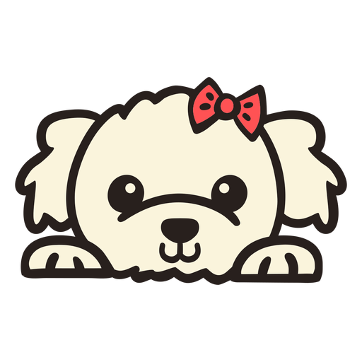 Peekaboo poodle with bow tie flat Transparent PNG