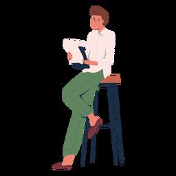 Pessoa reclinada com o caractere da lista