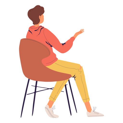 Person sitting character from the back Transparent PNG
