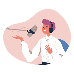 Person talking in podcast character