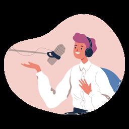 Persona hablando en personaje de podcast