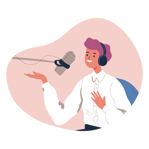 Person talking in podcast character Transparent PNG