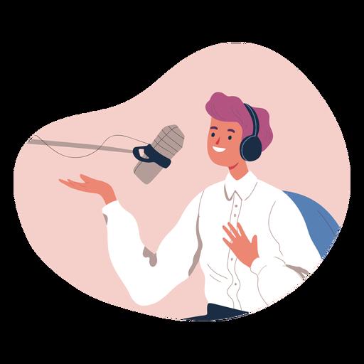 Persona hablando en carácter de podcast
