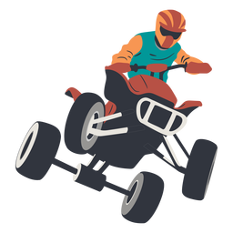 Pilot jumping in quad bike illustration
