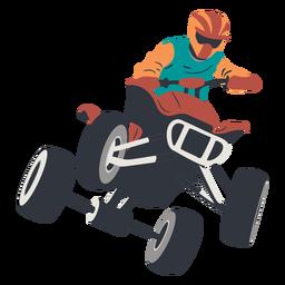 Piloto pulando na ilustração de moto-quatro