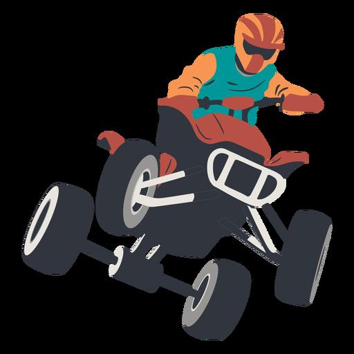 Pilot jumping in quad bike illustration Transparent PNG