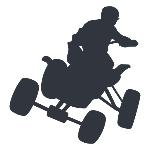 Pilot jumping in quad bike silhouette Transparent PNG