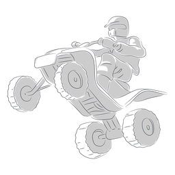 Pilot jumping with atv hand drawn