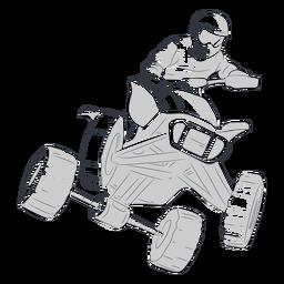 Piloto de carreras atv dibujado a mano